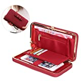 Aeeque Luxury Women Leather Wallet Phone Bags Case for Samsung Galaxy S6 S7 Edge A3 A5 J5 J7/ iPhone 7 6 6S Plus SE 5 S/ Huawei P8 Lite 2017, Stylish Girl Bowknot Purse Wallet Cover with [Hand Wrist] [Card Slots] - Red