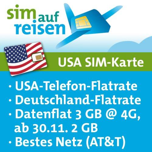 USA Prepaid Reise-Sim-Karte im AT&T Netz mit Telefon- und Internetflatrate (3 GB @ 4G, 2 GB bei Aktivierung nach 30.11.2017) - Att Dual-sim-handy
