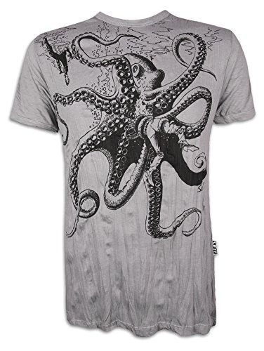 Sure Herren T-Shirt Riesen Krake Oktopus Scuba Taucher Sommer Freizeit Tauchen Strand (Hellgrau M)