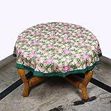 RoyaltyRoute grün Floral Runde Tischdecken in Baumwolle Stoff indische Home Decor-Ideal für 4 Maßgedecke (Durchmesser ca. 100 Cm)