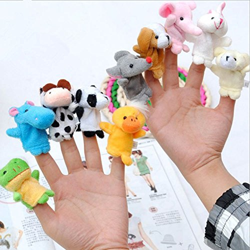 Fancyku Soft Plush Animal Finger Puppets Set Baby Story Time Velvet Animal Style for Toddlers (Pack of 10)