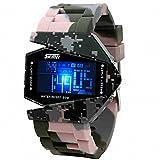 Skmei Herren Unisex-Frauen Casual Digital Armbanduhr PU Gurt Farbe Camouflage Multifunktions Nachtlicht + Box