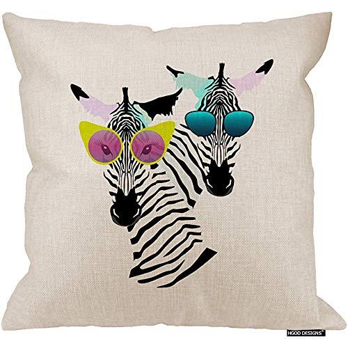 2pcs 18X18Inch-Zebra Kissenbezug, zwei lustige gestreifte Zebra mit Mode Sonnenbrillen Baumwolle Leinen Polyester Dekorative Wohnkultur Sofa Couch Schreibtisch Stuhl Schlafzimmer 18X18inch -