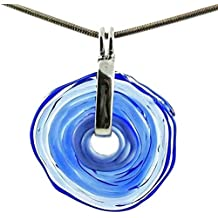 Kette in Blau mit Anhänger aus Murano-Glas   Glas-Wechsel-Schmuck   Unikat handmade   Personalisiertes Geschenk für sie zu Valentinstag Jahrestag Hochzeit Geburtstag Weihnachten Mama Dame