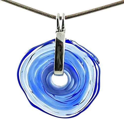 Kette in Blau mit Anhänger aus Murano-Glas | Glas-Wechsel-Schmuck | Unikat handmade | Personalisiertes Geschenk für sie zu Valentinstag Jahrestag Hochzeit Geburtstag Weihnachten Mama Dame -