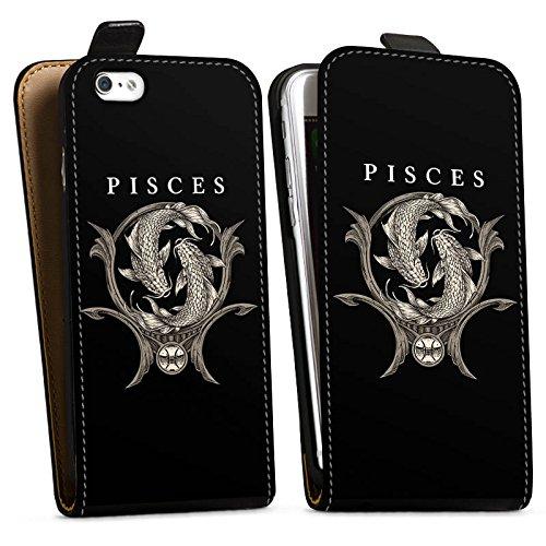 Apple iPhone X Silikon Hülle Case Schutzhülle Fische Sternzeichen Astrologie Downflip Tasche schwarz