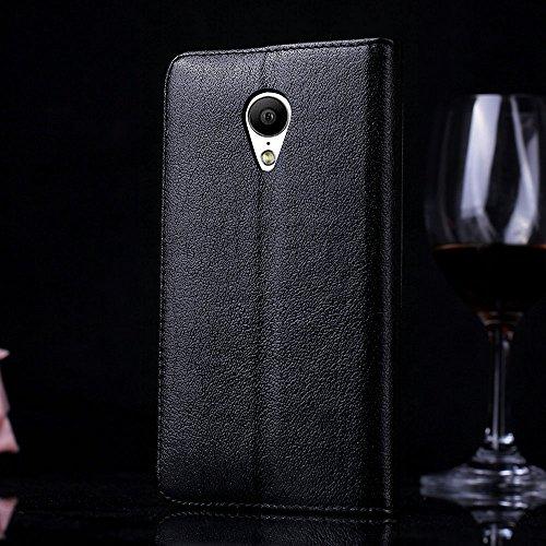 MX4 Hülle,EVERGREENBUYING - Flip Case Etui Handyhülle Für MX4G mit Sichtfenster - Aufklappbare Echtes Leder Schutzhülle im Flip Cover Style für MEIZU MX4 Schwarz Schwarz