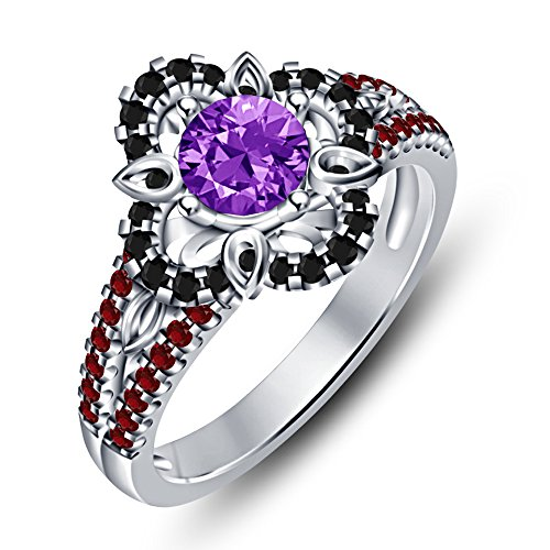 Vorra Fashion Fantastic Taglio Rotondo Multi pietra argento 925placcato platino bianco anello di fidanzamento, Argento, 12,5, colore: White, cod. NEW1729_49