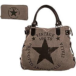 Bolso de mujer lona Estrella Vintage Estampado Bolso de hombro tus03 - GRIS BEIGE, One Size