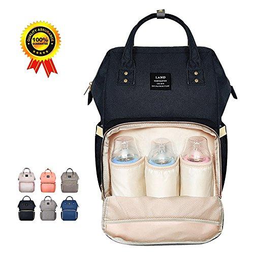 HEYI Baby Wickeltasche Reise Rucksack,Isolierte Tasche, Wasserdicht Stoffe, Multifunktional, Passform für Kinderwage, Große Kapazität Modern Einzigartig Tragbar Handtasche Organizer (Leinen grau) Schwarz