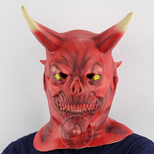 (GAOQIANG Horror Red Face Horn Monster Maske Red Face Monster Halloween Scary Gesicht Performance Party Ganze Requisiten)