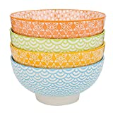 "Vancasso 4-Piece Ceramic Patterned 4 Designs Multi-Colour Large Serving Bowl, 6"" Porcelain Soup/Mixing/Fruit/Noodle China Bowl(15.2*15.2*7.5cm)"