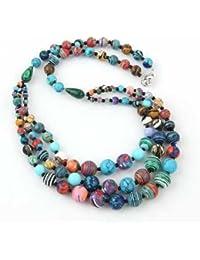 TOOGOO(R) collar de gargantilla en color turquesa de 3 hilos idea de regalo