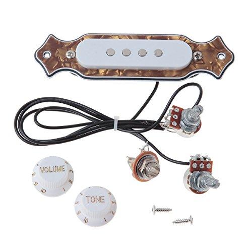 uctop Store Bronze Pearl Gitarre Schallloch Pickup vorverdrahtet Verkabelung für 4& 6Saiten Cigar Box