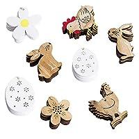 Informazioni sul prodotto: Materiale: legno Colore: come mostrato dimensioni: Coniglio (in piedi): 4,5 * 6 cm Coniglio (seduto): 6 * 6 cm Fiore (bianco): 5,5 * 5,5 cm Fiore (colore legno): 5,5 * 5,5 cm Pulcino (colore): 5.5 * 6.5 cm Pulcino (...