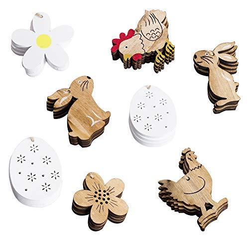 32 pezzi coniglio/fiori/pollo/uova pasqua legno ciondolo con corda per decorazione a pasqua legno coniglietto pasquale