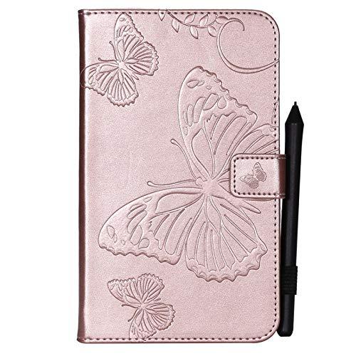 BMD-CASES Für Handy-Schutzhüllen, Für Samsung Galaxy Tab A 7,0 Zoll 2016 SM-T280 / T285 Fall, Schmetterlingsblume Blumenmuster PU Leder Geldbörse Tablet Ständer (Farbe : Roségold)
