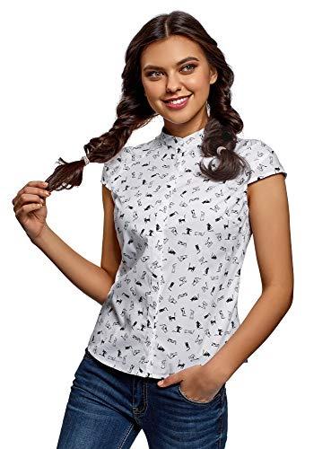 Button-down-raglan-Ärmel (oodji Ultra Damen Bluse mit Stehkragen und Kurzen Raglan-Ärmeln, Weiß, DE 42 / EU 44 / XL)