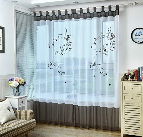 Kele stile pastorale ricamo floreale tenda della finestra finestra blin velato velo pannelli di vela tulle finestra-a w:140xh:270cm