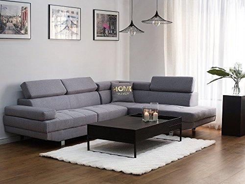 Beliani divano angolare moderno in tessuto grigio chiaro norrea