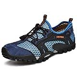Flarut Herren Sommer Trekking Sandale Wanderschuhe Super Atmung Draussen Hiking Schuhe Mesh Vamp Wasserschuhe Sport Laufen Klettern(Blau,42)