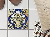 Bad-Bodensticker, Badezimmer-Fußboden-Fliesen | Fliesenaufkleber Folie Sticker Küche Bad Fussboden Fliesenmuster Kellerfliesen | 15x15 cm Muster Ornament Golden Twenties - 1 Stück