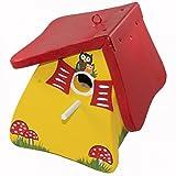Die Vogelvilla Nistmini Eule weiß blau rot grün gelb Vogelhaus Nistkasten Futterstation Vogel, Farbe:Gelb