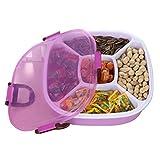 Hosaire 1x Kunststoff Dichtung Aufbewahrungsbox Multifunktion Oval Süßigkeit Melonensamen Aufbewahrungskiste Storagebox Fünf Gitter Aufbewahrungsbehälter mit Schnalle (Lila)