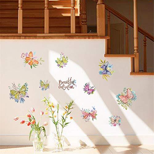 Schöne Sammlung Blume Schmetterling Kombination Wandaufkleber mit dekorativen Wand Fenster Dekoration 50X70Cm angebracht Wiese-sammlung