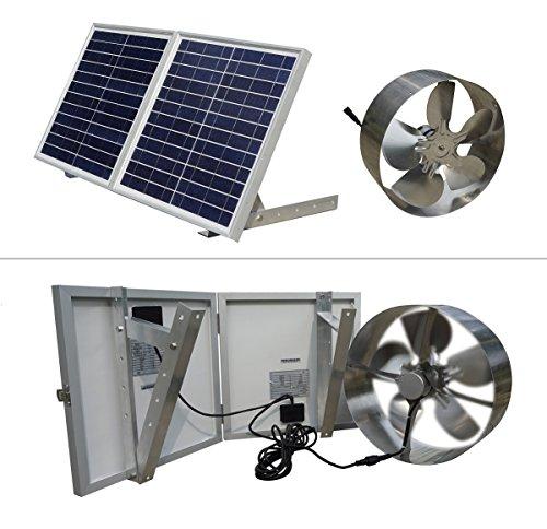 eco-worthy 25W Solar Powered Dachboden Ventilator Giebel Dach-Fan mit 30W Faltbar Solar Panel
