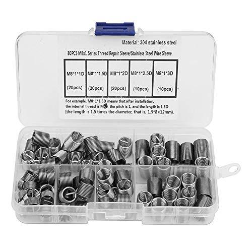 M8 Drahtgewindeeinsätze, 80 Stück, Edelstahl, Spiraldraht, Gewinde-Reparatur-Einsatz, Gewinde-Schrauben, Hülsen-Set für Gewinde-Reparatur