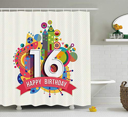 16th Birthday Decorations Shower Curtain, Little Cupcake with Candle Greeting Message Romantic Print, Fabric Bathroom Decor Set with Hooks, 60W X 72L Inche, Red Orange Blue (Chevron Cupcake Liner)