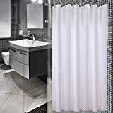 Sfoothome 180cm Wide x 200cm Long White Shower Curtain ,Waterproof Polyester Fabric Shower Curtain Liner ,Midew Resistant Washable Bath Curtain For Bathroom With Anti Rust Grommets , Plastic Curtain Rings And Heavy Weighted Hem