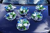 6 St. Autoschmuck Blumen Blüten Girlanden Hochzeit Autodeko Kunstblume NEU LA50 Blau