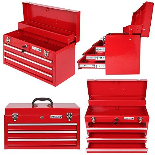 Werkzeugkoffer Werkzeugkasten Werkzeugkiste Werkzeugbox 3 SCHUBFÄCHER metall Stahl Schubladenschrank Schubladen Kugelgelagert abschließbar Werkzeug Aufbewahrung
