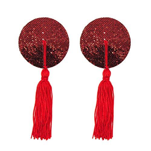 Fenical Womens Sexy Silicone Paillettes Nappe rotonde copricapezzoli Adesivi Pasties Reggiseno (Rosso)