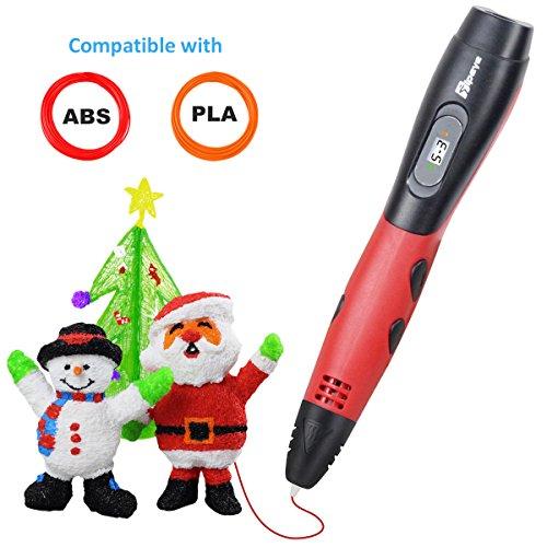 3D Stifte Set für Erwachsene und Kinder mit LCD Display, 3D Druckstift Set, 3D Pen mit 1.75 mm PLA Filament für Kritzelei, Zeichnung, Kunst & handgefertigte Werke (06A 3D Stifte Rot)