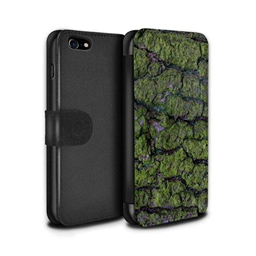 STUFF4 PU-Leder Hülle/Case/Tasche/Cover für Apple iPhone 6 / Verbranntem Holz Muster / Baumrinde Kollektion Algen/Grün