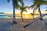 GREAT ART Affiche Hamac sur Palm Beach avant le coucher du soleil, l'image de décoration murale soleil Caraïbes vacances d'été sur mer de plage en palmierx |mur deco Poster Image by (140 x 100 cm)