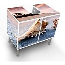 Waschbeckenschrank Unterschrank Badschrank Badmöbel Waschtisch mit Motiv: Muscheln