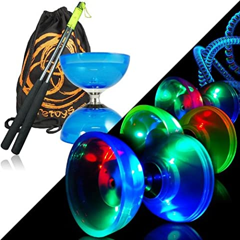 Juggle Dream - Set di 2 elementi contrappeso per Diablo luminosi, con luce LED, borsa inclusa - Asse Lato Cuscinetto