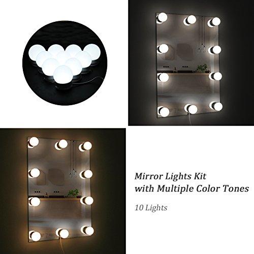LED Beleuchtungs-Set für Makeup-spiegel mit Mehreren Farbtönen für Warmes, Natürliches und Tageslicht. Spiegel-Umrandung mit Lichtern im Hollywood-Stil. Smarter Berührungs-Dimmer Speichert Ihre Einstellungen. Einfaches Anbringen Ohne Werkzeug (Make-up-spiegel Licht,)
