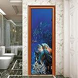 captain_y Door Stickers Removable Creative 3D Self-Adhesive Underwater World Diy Turtle Coral Waterproof Wall Stickers Decoration Door Murals 77X200Cm