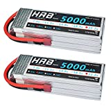 HRB 2pack LiPo Akku 5000mAh 22.2V 50C 6S für FPV Racing Quadcopters Diverse Racing Cars Helikopter Flugzeuge und Modellboote (T Stecker)