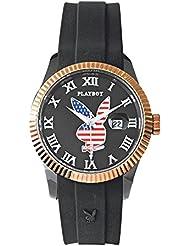 Playboy USA42BG - Reloj analógico de cuarzo unisex, correa de silicona color negro