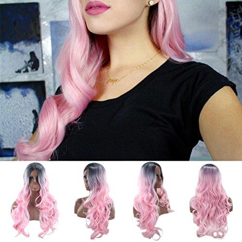 Frauen lange Welle Perücke Cosplay Curly schwarz Schatten Rosa für Kostüm Teil Verkleidungen Haar passgenau