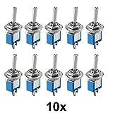 10 Stück Miniatur Kippschalter 1-polig 2 Kontakte Umschalter Lötösen Ein/Aus