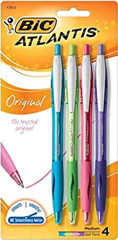 BIC Atlantis Original Retractable Ballpoint Pens 4/Pkg-Purple, Blue, Lime & Pink