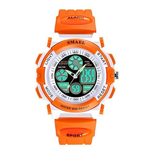 Kinder Sportuhr Wasserdicht Lumineszierend Armbanduhr für Mädchen mit Wecker Elektronik Quarz Bewegung Digitaluhr für Jungen Dual Zeit Anzeigen Kinderuhren,Orange (Orange Elektronik)