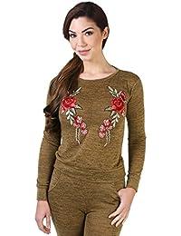 KRISP® Femmes Survêtement Sweatshirt Brodé à Fleurs et Jogpant